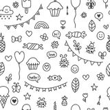 Background for cute little boys and girls. Hand drawn children drawings. Color seamless pattern. Doodle children drawing background. Sketch. Vector illustration Stock Photos