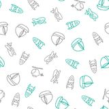 Background for cute little boys. Transportation print. Doodle style seamless pattern on the theme of childhood with. Space ship, plane, helicopter and boat Royalty Free Stock Image