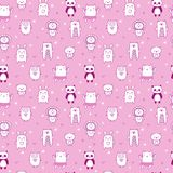 Background for cute little girls. Hand drawn seamless pattern for children with funny animals. Doodle children drawing background. Kids design. Vector Stock Photo
