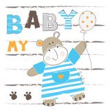 Background with cute little hippo. For baby shower, greeting card, t-shirt design Royalty Free Stock Images