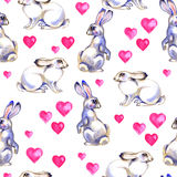 Background with cute love rabbits. Watercolor seamless pattern vector illustration
