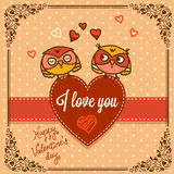 Background with cute owls Royalty Free Stock Photography