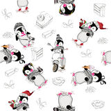 Background with cute penguins. stock illustration