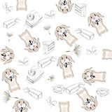 Background with cute rabbits and sweets. Royalty Free Stock Photography