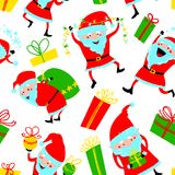 Background with cute Santa Claus and gift boxes. Christmas seam Royalty Free Stock Images