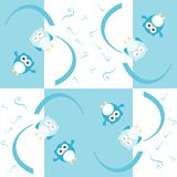 Background with cute smile owls for boy Royalty Free Stock Photo