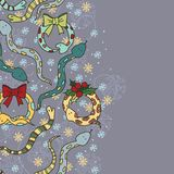 Background with cute snakes. Mistletoe and snowflakes for New Year of the snake Stock Image