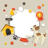 Background with cute sticker dog, icons and Royalty Free Stock Photos