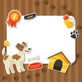 Background with cute sticker dog, icons and Stock Images