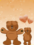 Background- cute taddy with balloons Stock Images