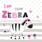 Background with cute zebra with floral elements and lettering fo Royalty Free Stock Image