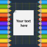 Background of the cutting mat and border of colored pencils. Place for your text. Vector background of the cutting mat and border of colored pencils. Place for Stock Photos