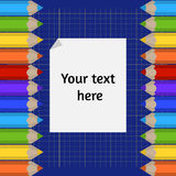 Background of the cutting mat and border of colored pencils. Place for your text. Royalty Free Stock Images