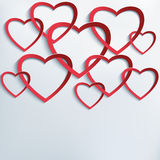 Background with cutting paper 3d hearts Stock Images