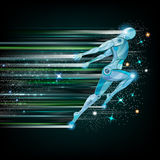 Background with cyborg flying or runing Royalty Free Stock Photos