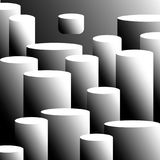Background of cylinders art design. The construction of cylinders is arbitrary, the pedestals and podiums are the background, the cylinders with shadow and vector illustration
