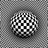 Background 3d black and white. Checkered distorted space with sphere inside, vector illustration Stock Image