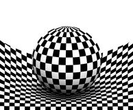 Background 3d black and white. Checkered distorted space with sphere inside, vector illustration Stock Photos