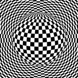 Background 3d black and white. Checkered distorted space, vector illustration Stock Photos