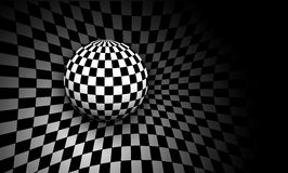 Background 3d black and white. With checkered sphere, vector illustration Royalty Free Stock Photos