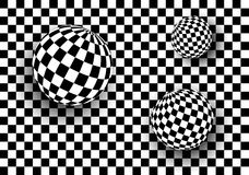 Background 3d black and white. Checkered spheres, vector illustration Stock Image
