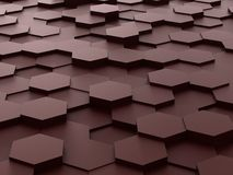Background of 3d brown hexagon blocks Stock Photos