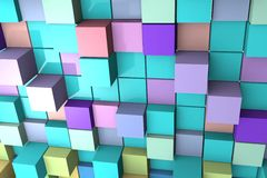Background with 3D colored cubes. Royalty Free Stock Image