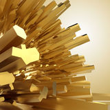 Background with 3d golden crystal shapes. Abstract sharp golden crystallized background Royalty Free Stock Images