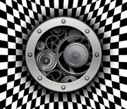 Background 3D with machinery gears. Background with button and machinery cog gears over 3D checkered pattern, vector illustration Royalty Free Stock Photography
