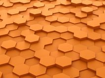 Background of 3d orange hexagon blocks. Abstract background of orange 3d hexagon blocks Royalty Free Stock Images