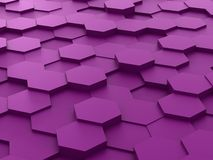 Background of 3d purple hexagon blocks Stock Images