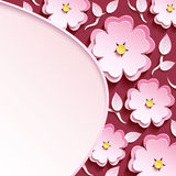 Background with 3d sakura and leaves. Trendy romantic maroon background with pink-white ornate 3d flower sakura cutting paper- japanese cherry tree, branch and Stock Photos
