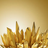 Background with 3d sharp golden crystal shapes. Abstract sharp golden crystallized background Royalty Free Stock Photo
