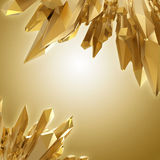Background with 3d sharp golden crystal shapes Royalty Free Stock Photo