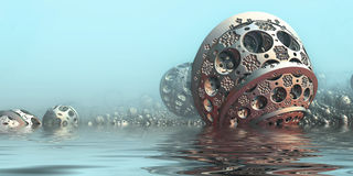 Background with 3D spheres. Background with fantastic 3D spheres in water, abstract sci fi design Royalty Free Stock Image