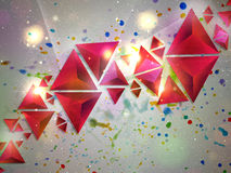 Background of 3d Triangles. Abstract composition of red 3d triangles, colorful background Royalty Free Stock Images