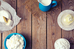 Background with dairy products. Focus on wooden planks. View from above Royalty Free Stock Photography