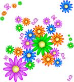 Background with daisies and butterflies Stock Photo