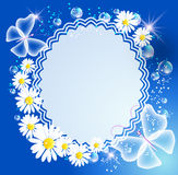 Background with daisy, butterfly and frame. Magic background with daisy, butterfly, frame and a place for text or photo Royalty Free Stock Photography