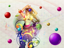 Background with dancing girl Stock Image