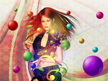 Background with dancing girl Stock Images