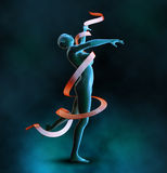 Background with dancing girl. Render a woman possessed by a ribbon Royalty Free Stock Photo