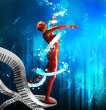 Background with dancing girl. Render a woman possessed by a ribbon Stock Photo