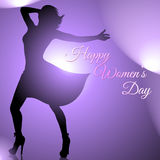 Background with dancing woman silhouette for women`s day Stock Images