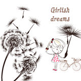 3)Background with dandelion, bicycle and little girl girlish dr Stock Images