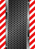 Background. Danger symbol and grate background Stock Photos