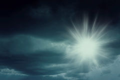 Background of dark clouds with sun. Background of dark clouds before a thunder-storm Royalty Free Stock Images