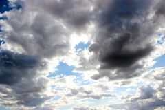Background of the dark cloudy sky.  Stock Image