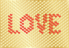 Background for Day of Valentine. Golden background for Day of Valentine with word love in red stock illustration