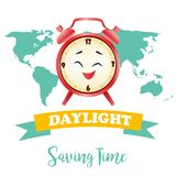 Banner for Daylight Saving Time with alarm clock. Background for Daylight Saving Time with alarm clock stock illustration